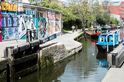 Canal in Hackney Wick, London, United Kingdom