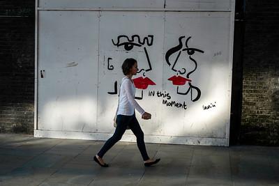 Sidewalk with graffiti, London, United Kingdom