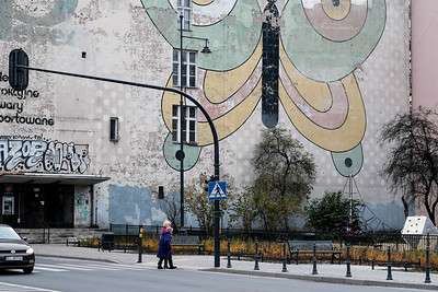 Artistic Mural on the wall, Lodz, Poland