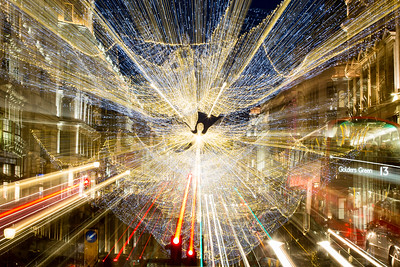 Regent Street in Christmas decorations, West End, London, United Kingdom