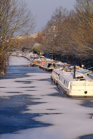 Canal by Victoria Park in winter, London, United Kingdom