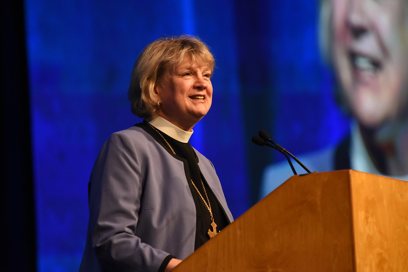Tenth Triennial Convention | The Rev. Ann Svennungsen, Bishop of the Minneapolis Area Synod, ELCA, brings greetings at the start of the convention.