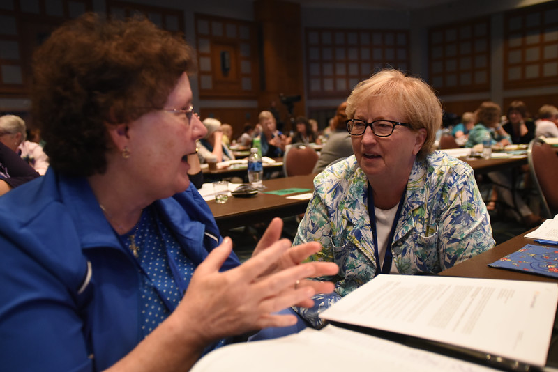 "Tenth Triennial Convention | Trisha Dow, Plouer, Wisc., Good Shepherd Lutheran Church and Shirley Paulson, Green Bay, Wisc. Peace Lutheran Church answer the question posed by executive director, Linda Post Bushkofsky, ""What is your Women of the ELCA story?"""