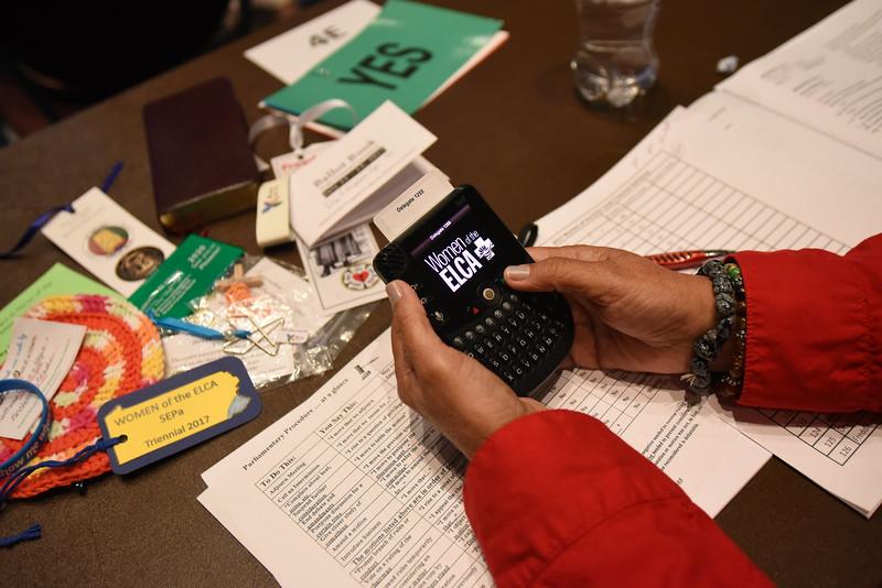 Tenth Triennial Convention | Elva Villalpondo Cope, San Antonio, Trinity Lutheran Church, votes with a voting machine.