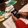 Tenth Triennial Convention | Elva Villalpondo Cope, San Antonio, Trinity Lutheran Church, votes with a voting machine.