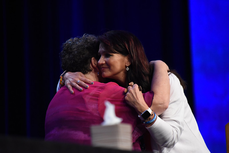 Tenth Triennial Convention | Executive director, Linda Post Bushkofsky hugs Lisa Plorin after she was elected to the as president of the churchwide executive board (2017-2020).