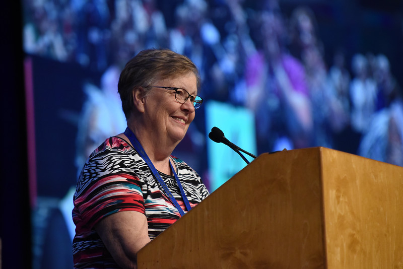 Tenth Triennial Convention | Mary Jo Mettler, Northeastern Minnesota Synodical Women's Organization board member shares updates about the solar panels that were provided to Phebe Hospital, Liberia, through their work with RREAL (Rural Renewable Energy Alliance).