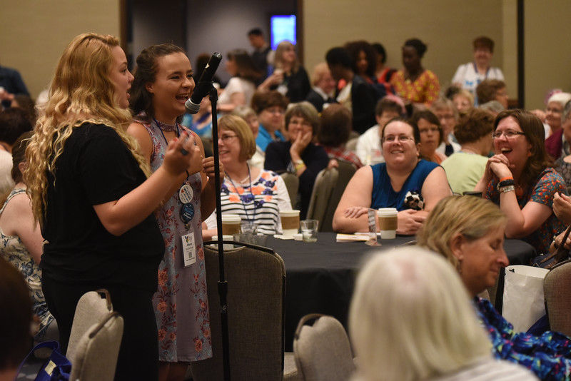 Tenth Triennial Gathering |  Mary Winsor, Juno Beach, Fla. and Ally McDonough, Charleston, S.C., share their excitement about attending their first gathering.