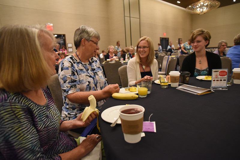 Tenth Triennial Gathering | Nancy Miller, Lime Springs, Iowa, St. Paul's Lutheran Church, Jeanine Schwade, Lime Springs, iowa, St. Paul's Lutheran, Kristie Neddermeyer, Webster City, Iowa, Trinity Lutheran, enjoy their first time attendee breakfast.