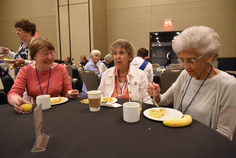 Tenth Triennial Gathering | Diane Scheremet, Hinckley, Minn., Zion-Cloverdale, Eloise Jones, Payson, Az., Mt. Gross Lutheran, and Betty Lee, Rochester, Minn., Homestead United Methodist enjoy their first time attendee breakfast.