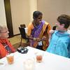 Tenth Triennial Gathering | Vick Heydt, Osasge, Minn., Sudeep Meriga, India, Lois Byland, Moorehead, Minn. enjoy the International Guests reception.