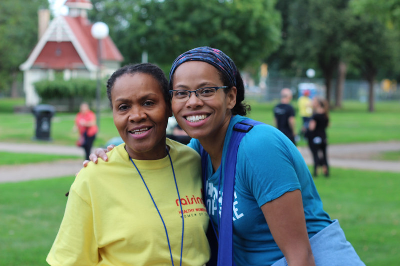 Tenth Triennial Gathering | Valora Starr and Elizabeth Hunter, Women of the ELCA staff, Chicago, IL, cheered on runners, walkers and rollers.