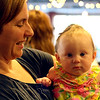 Tenth Triennial Gathering | Cafe writer, Joy McDonald Colvet, Minneapolis, Minn., stopped by the Cafe dinner to meet other writers and readers (even the youngest reader, Eilis Marshall, Chicago, Il.).