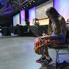 Tenth Triennial Gathering | Artist-in-residence Vonda Dress draws during closing worship.