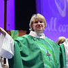 Tenth Triennial Gathering | Rev. Ann Svennungen, bishop of the Minneapolis Area Synod, presides at the opening thankoffering service with Holy communion.