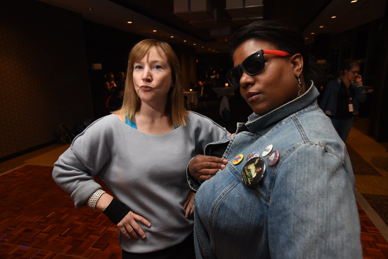 Tenth Triennial Gathering   Elizabeth McBride, Chicago, Women of the ELCA staff and Candace Eubanks, Milwaukee, Wisc. strike their coolest 80s pose.