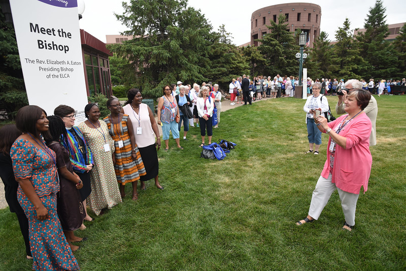 Tenth Triennial Gathering | Folks meet on the plaza to meet the Bishop following opening worship.