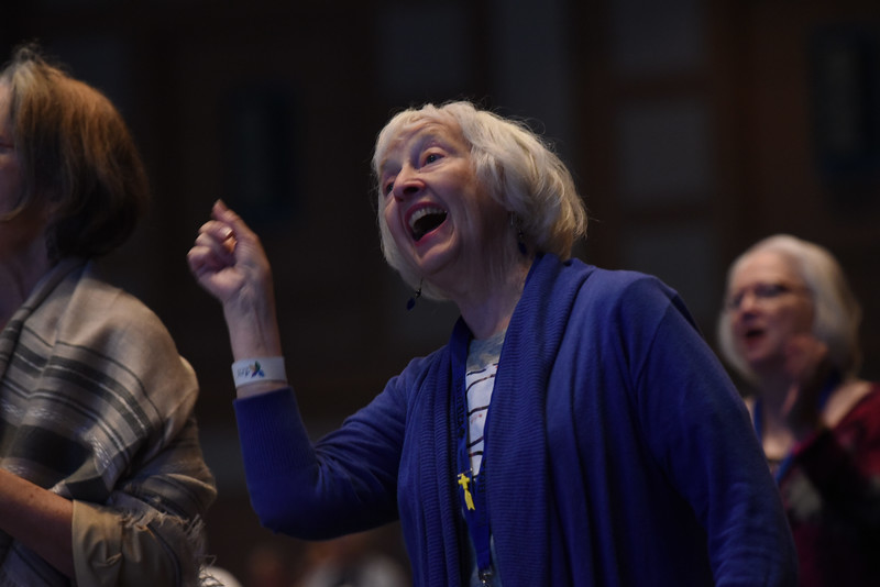 "Tenth Triennial Convention | Julie Pierce, Seattle, Wash., Faith Lutheran Church, sings ""This light of mine"" during during a short break."