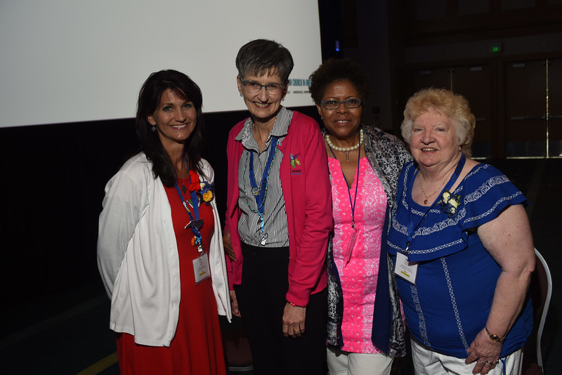 Tenth Triennial Convention | The newly elected 2017–2020 executive board officers. <br /> <br /> <br /> Row 1: Lisa Plorin, president (left); Becky Shurson, vice president; Freddie Jordan, secretary; Anna Sarver, treasurer.