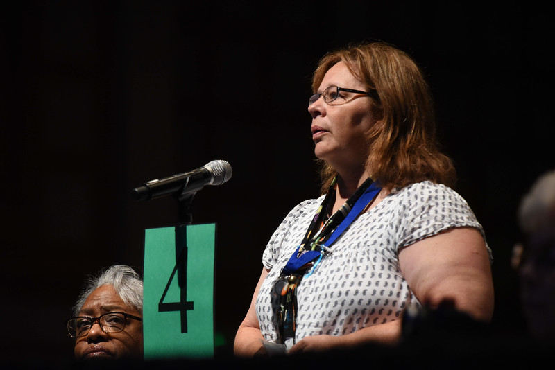 Tenth Triennial Convention | Phyllis Keller, 7D goes to the mic after Bishop Eaton's State of the ELCA report.