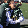 Lynn, Ma. 11-9-17. Aderky Diaz and Kiahnallis Ventura pick out people they know in the stands during half-time at the posder puff game played at Manning Field on Sunday.