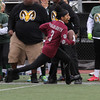Lynn, Ma. 11-19-17. Lindsy Ayala in the process of being run out of bounds during the powder puff game played at Manning Field on Sunday.