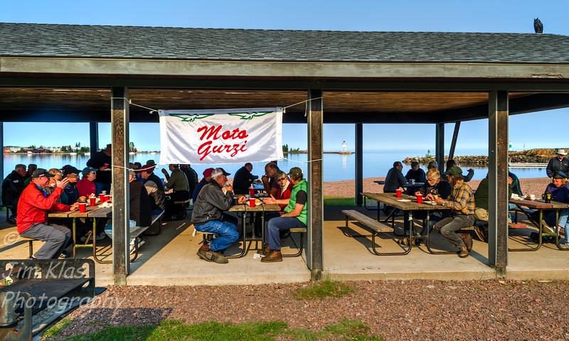 We had a fish fry of fresh caught Lake Superior herring. WOW! Great food, free beer and about 60 friends in attendance. No wrist bands were needed because everyone seemed to know  each other.