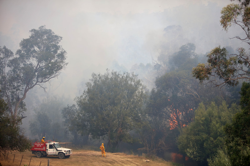 Firefighters from a joint Australian and U.S. strike team keep an eye on a bush fire as other team members blackline an area in order to control the fire and protect nearby structures, in Alpine National Park near Omeo, Victoria, Australia, January 12, 2020. The Australian firefighters are with Country Fire Authority Australia and the U.S. team is the third rotation in for 28 days and they come from five different U.S. agencies, the U.S. Forest Service, U.S. Fish and Wildlife, Bureau of Land Management, Bureau of Indian Affairs and the National Park Services.