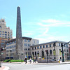 "This is a view of historic Pack Square.   Pack Square Park in Asheville, North Carolina is said to be the realized dream of philanthropist George Willis Pack who donated the plot of land to the city in 1901. Nearly a century later, a water leak under Pack Square stimulated discussion to recreate and redesign Pack Square and City-County Plaza into a new public space, which has become the centerpiece of Downtown Asheville. The resulting 6.5 acre park, which sits in front of Buncombe County Courthouse and Asheville City Hall, is comprised of <a href =""http://www.packsquarepark.org/index.php?option=com_content&task=view&id=27&Itemid=41"""">Pack Square</a>, <a href=""http://www.packsquarepark.org/index.php?option=com_content&task=view&id=26&Itemid=40"""">Reuter Terrace</a>, and <a href= ""http://www.packsquarepark.org/index.php?option=com_content&task=view&id=25&Itemid=39"""">Roger McGuire Green</a>, which is the location of Bascom Lamar Lundsford Stage. The park opened on September 25, 2009.  A $140,000 Federal TE grant, procured in 2002, funded the development of the park and streetscaping around Pack Square, contiguous to three major streets: College Street, Patten Avenue, and Biltmore Avenue (US 25). In addition to the Federal funding, Pack Square Park was made possible with generous contributions by private donors."