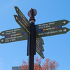 "This wayfinding sign directs pedestrians and bicyclists to nearby attractions, such as shopping and restaurant destinations and historic sites.   Pack Square Park in Asheville, North Carolina is said to be the realized dream of philanthropist George Willis Pack who donated the plot of land to the city in 1901. Nearly a century later, a water leak under Pack Square stimulated discussion to recreate and redesign Pack Square and City-County Plaza into a new public space, which has become the centerpiece of Downtown Asheville. The resulting 6.5 acre park, which sits in front of Buncombe County Courthouse and Asheville City Hall, is comprised of <a href =""http://www.packsquarepark.org/index.php?option=com_content&task=view&id=27&Itemid=41"""">Pack Square</a>, <a href=""http://www.packsquarepark.org/index.php?option=com_content&task=view&id=26&Itemid=40"""">Reuter Terrace</a>, and <a href= ""http://www.packsquarepark.org/index.php?option=com_content&task=view&id=25&Itemid=39"""">Roger McGuire Green</a>, which is the location of Bascom Lamar Lundsford Stage. The park opened on September 25, 2009.  A $140,000 Federal TE grant, procured in 2002, funded the development of the park and streetscaping around Pack Square, contiguous to three major streets: College Street, Patten Avenue, and Biltmore Avenue (US 25). In addition to the Federal funding, Pack Square Park was made possible with generous contributions by private donors."
