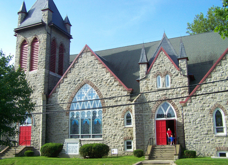 <b>The First United Methodist Church of Hightstown, built in 1898, was restored with the help of a $500,000 grant from the New Jersey Historic Trust. The congregation matched that grant with $1.5 million in donations.</b>  The Stockton Street Historic District Streetscape project is the result of a community-driven and historically-focused economic stimulus plan. Even before the recession, Hightstown Borough struggled to keep its local economy afloat. Suburban development patterns made it difficult for locally-owned businesses downtown to survive. Its industry had shut its doors, and the housing crisis only added to the number of abandoned properties scarring the borough. With traditional mechanisms of economic stimulus limited, Hightstown developed a master plan that focused on re-establishing the borough as a destination town for visitors, similar to when it was a thriving railroad hub. Restoring the town's historic culture and marketing its small town pride is a central theme of the plan. The Stockton Street Historic District Streetscape project is a direct implementation strategy of this plan.   The Stockton Street Historic District is located in the Borough of Hightstown (pop. 5,216) in Mercer County, New Jersey. Seventy-six historic resources, predominantly single family dwellings, a stone church, and a historic monument contribute to this 14.35-acre district. These buildings are historically significant with varying architectural styles including early Federal, high-style Victorian, and turn-of-the-century eclectic.    The project, which is scheduled to begin construction in August 2010, seeks to restore the district's sidewalks to an eclectic mix of brick and slate. In addition, a granite curb will be constructed throughout the district to help define its boundaries by creating a consistent and distinctive look. Construction will be sensitive to unearthing carriage steps and resetting them in place along the street to convey the culture of yesteryear for vis