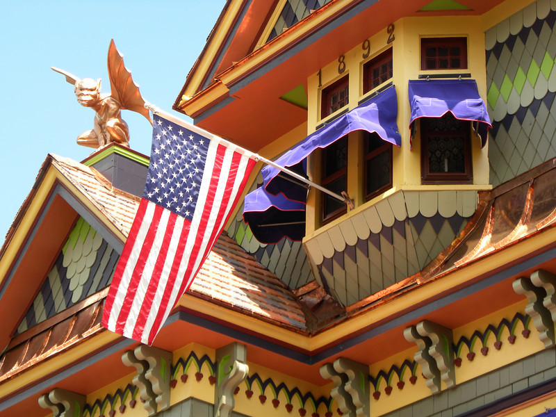 <b>Barlow the Gargoyle, a large sculpture that sits atop one of the main roof peaks of the Queen Anne residence, was carved by a local Hightstown artisan during the restoration process to keep a watchful eye over the property and welcome visitors to the Stockton Street Historic District.</b>  The Stockton Street Historic District Streetscape project is the result of a community-driven and historically-focused economic stimulus plan. Even before the recession, Hightstown Borough struggled to keep its local economy afloat. Suburban development patterns made it difficult for locally-owned businesses downtown to survive. Its industry had shut its doors, and the housing crisis only added to the number of abandoned properties scarring the borough. With traditional mechanisms of economic stimulus limited, Hightstown developed a master plan that focused on re-establishing the borough as a destination town for visitors, similar to when it was a thriving railroad hub. Restoring the town's historic culture and marketing its small town pride is a central theme of the plan. The Stockton Street Historic District Streetscape project is a direct implementation strategy of this plan.   The Stockton Street Historic District is located in the Borough of Hightstown (pop. 5,216) in Mercer County, New Jersey. Seventy-six historic resources, predominantly single family dwellings, a stone church, and a historic monument contribute to this 14.35-acre district. These buildings are historically significant with varying architectural styles including early Federal, high-style Victorian, and turn-of-the-century eclectic.    The project, which is scheduled to begin construction in August 2010, seeks to restore the district's sidewalks to an eclectic mix of brick and slate. In addition, a granite curb will be constructed throughout the district to help define its boundaries by creating a consistent and distinctive look. Construction will be sensitive to unearthing carriage steps and resetting the