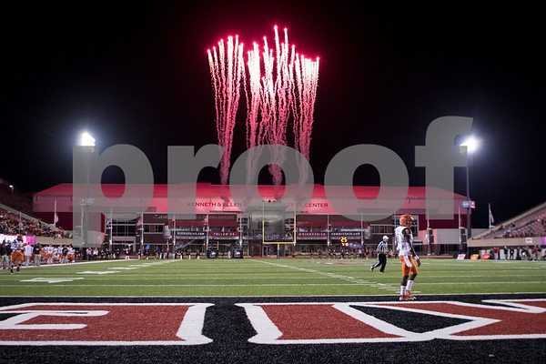 Sam Buckner for Shaw Media.<br /> Fireworks go off over Huskie Stadium after the Huskies scored a touchdown late in the second half against Bowling Green on Tuesday November 1, 2016.