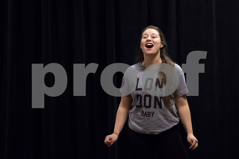"""Sam Buckner for Shaw Media.<br /> Sarah Morton opens up the rehersal by singing """"Another opening another show"""" on Tuesday November 1, 2016."""