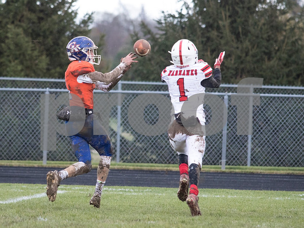Sam Buckner for Shaw Media.<br /> Jacob Stojan catches a pass that he then ran for a touchdown on Saturday November 2, 2019 against North Chicago.