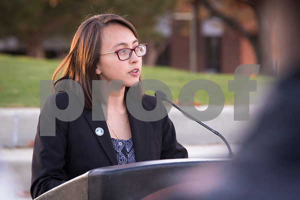 Sam Buckner for Shaw Media.<br /> Stephanie Torres, a NIU student and MAP grant recipient, speaks to the crowd at the budget and MAP grant rally on Thursday November 3, 2016.