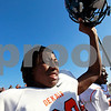 Candace H. Johnson – For Shaw Media<br /> DeKalb's Jaquan Harris breaks away from the huddle after his football team beat Antioch 36-3 in the 2nd round state playoff game at Antioch Community High School.