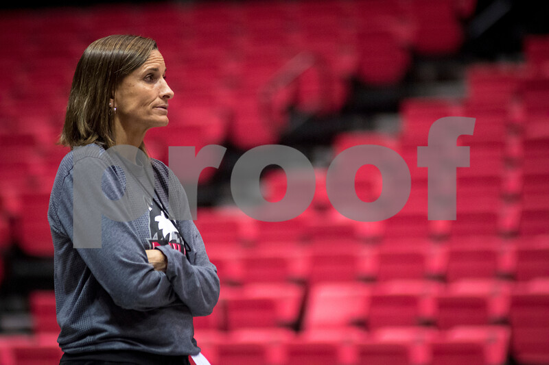 Sam Buckner for Shaw Media.<br /> Head Coach Lisa Carlsen watches her team practice on Monday November 7, 2016.