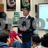 Army Staff Sgt. Michael Wentz answers questions about his experiences in the military with a group of seventh-graders during Veterans Appreciation Day at DeKalb's Clinton Rosette Middle School.