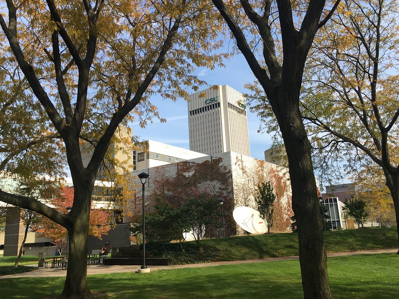 College of Liberal Arts and Social Sciences (foreground), Rhodes Tower (background).