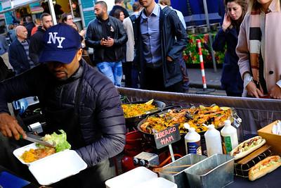 Foodstalls on Leather Lane, London, United Kingdom