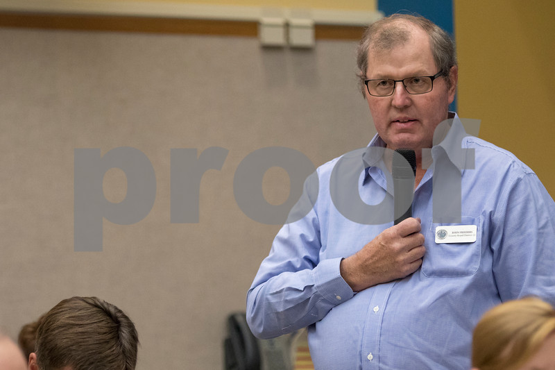 Sam Buckner for Shaw Media.<br /> John Freiders of the 12th district spoke in favor of the propane distribution center at the DeKalb County Board meeting on Wednesday November 16, 2016.