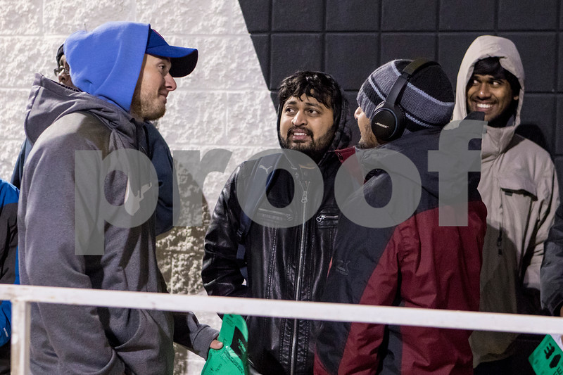 Sam Buckner for Shaw Media.<br /> Anthony McCoy, Naman Shah, Bhavin Shah and Kiran Maridi stand outside of Best Buy on Thursday November 24, 2016.