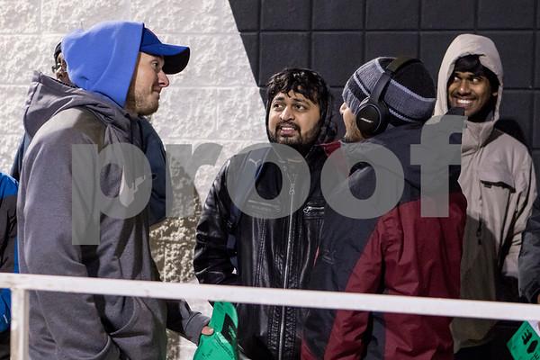 Sam Buckner for Shaw Media.<br /> Anthony McCoy, Naman Shah, Bhavin Shah and Kiran Maridi stand outside of Best Buy on Thursday November 24, 2016.