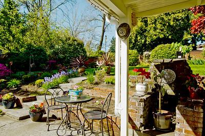 rear patio built in fireplace