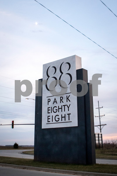 Sam Buckner for Shaw Media.<br /> Park Eighty Eight sign at the intersection of Macomb Drive and Peace Road on Monday November 27, 2017.
