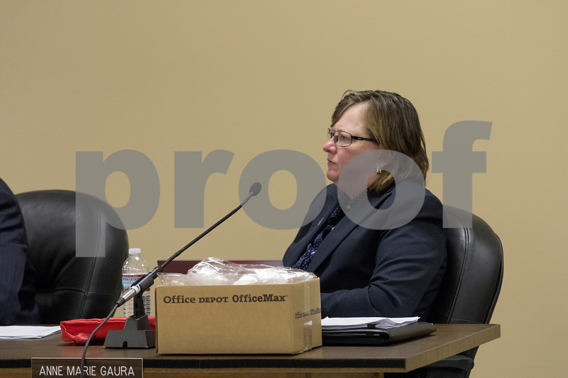 Sam Buckner for Shaw Media.<br /> City Manager Anne Marie Guara listens to Mayor Jerry Smith at the City Council meeting on Monday November 27, 2017.
