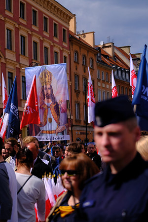 Anti EU demonstration organised by far right groups,  on the 15th aniversary of Poland joining the EU, 15 years ago Poland joined EU, Warsaw, Poland