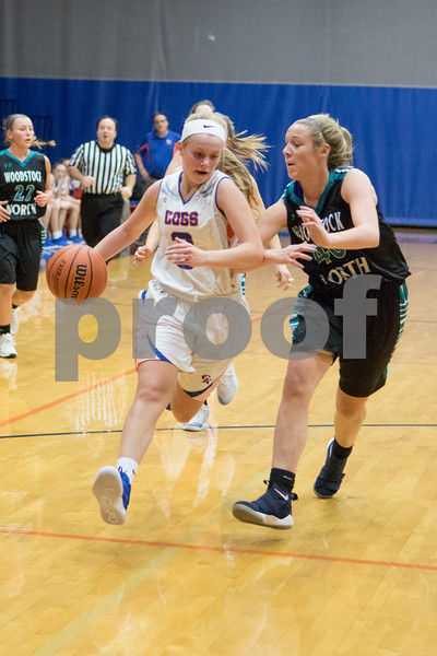 Sam Buckner for Shaw Media.<br /> Bridget Babb drives down the court on Wednesday November 28, 2018 against Woodstock North.