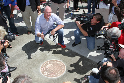 Paul Tracy unveils his mark on the Long Beach Motorsports Walk of Fame.at the 39th Annual Toyota Grand Prix of Long Beach in Long Beach, California on April 18, 2013. Mandatory Photo Credit: Chris Anderson/114photography